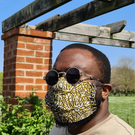 Face Mask 'Gold Dust' with Filter Pocket, 100% Cotton Washable, Reusable Mask