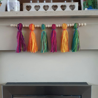 Wooden beaded tassel garland