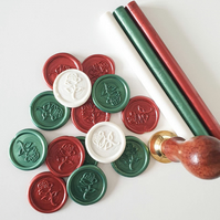 Wax Seals Rose Design White Red Green- Peel and Stick