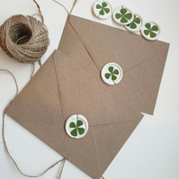 Wax Seals Lucky White Green Clover- Peel and Stick