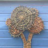 Willow tree sculpture, decorative sustainable garden art