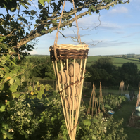 Large Willow bird feeder with 6 fat balls. Eco friendly garden gift.