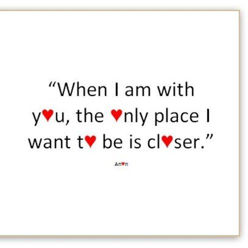 "Love Quotes"" card - ""Closer"" - valentine card, anniversary card"