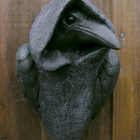 Mystic Hooded Crow Wall Plaque GARDEN OR INDOOR Pagan Gothic Ornament Raven