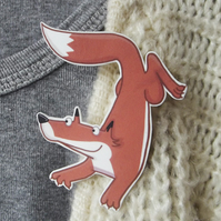 Quick Brown Fox Brooch