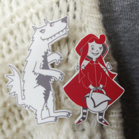Little Red and the Big Bad Wolf Brooches