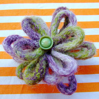 Green and Purple Felted Flower Brooch