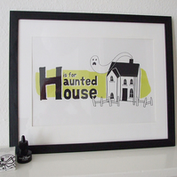 H is for Haunted House - Sparkling Green
