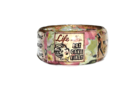 Vintage Flower Decoupage Bangle