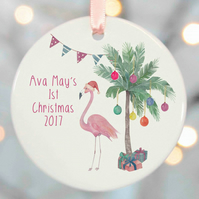 Personalised Christmas Tree  Decorations - Flamingo