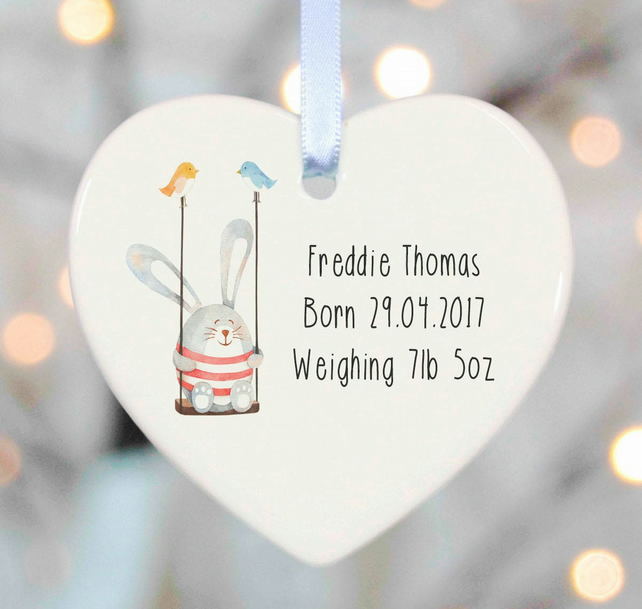 Personalised New Baby Ceramic Gift - Rabbit on swing