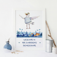 Seagull Seaside Beach Personalised Print- Beach Hut Theme