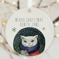 Personalised Christmas Tree Decoration - Cat