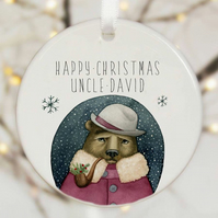 Personalised Christmas Tree Decoration - Bear And Pipe