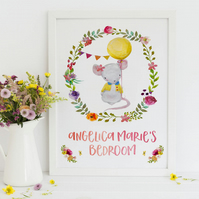 Personalised Mouse Bedroom Print,  Mouse with Balloon