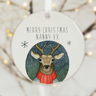 Merry Christmas Nanny Ceramic Ornament - Deer.