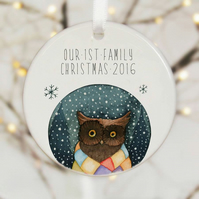 Our First Family Christmas Ceramic Bauble - Chrstmas Owl