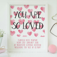 Personalised New baby print.  - You are so loved.