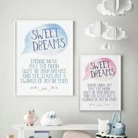 Personalised Sweet Dreams Baby Nursery Print - Boys or Girls.