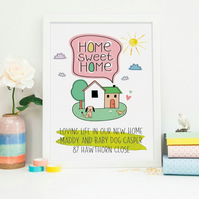 Personalised New Home Print With Dog or Cat