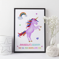 Personalised Unicorn Dream Girls Bedroom Print - A3, A4 ,A5