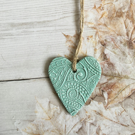 Aquamarine Paisley Pattern Clay Hanging Heart Decoration, Mothers Day Gift