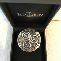 Lady Crow Pewter Celtic Swirl Brooch in presentation Box