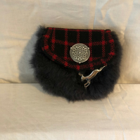 Bespoke Quirky Harris Tweed Sporran with Sheepskin Lid, Pewter Shield & Hare Bro