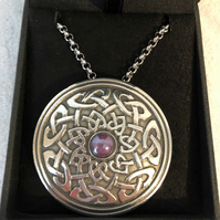 Lady Crow Pewter Celtic Shield Necklace with Lilac Stone in Presentation Box