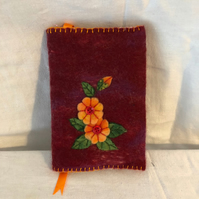 Hand Felted Small A6 Journal, Flowers, Leaves and Buttons