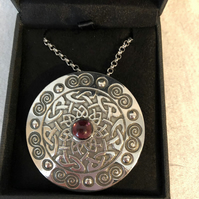 Lady Crow Pewter Celtic Shield Necklace with Purple Stone in Presentation Box