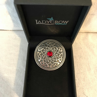 Lady Crow Pewter Celtic Brooch with Red Stone