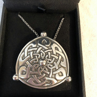 Lady Crow Pewter Celtic Shield Necklace in Presentation Box