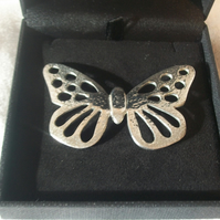 Lady Crow Pewter Butterfly Brooch