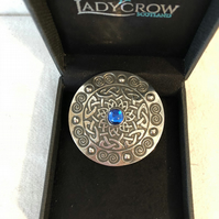 Lady Crow Pewter Celtic Brooch with Blue Stone