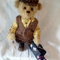 Mr Mac One of a Kind Handmade Teddy Bear Mohair Vintage with Little Suitcase