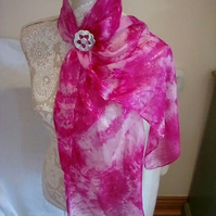 Lady Crow Silk Scarf in pinks with Pewter Flower Scarf Ring