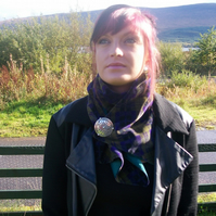 Bespoke purple and green velvet scarf with Pewter Celtic Brooch