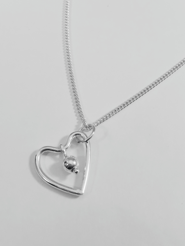 Sterling Silver wire heart and bead charm necklace