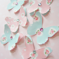 Shabby Chic vintage style Handmade Butterfly Embellishments wedding scatter