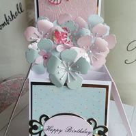 Hand Made Pop Up Box Card Happy Birthday Can Be Personalised