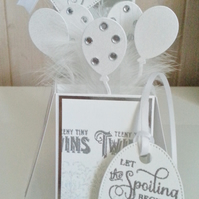 New Baby Twins Pop Up Box Card and Tag