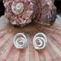Unusual, Spiral Stud Earrings - molten, reticulated textured earrings