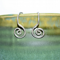 Silver Spiral Dangle Earrings - Genuinely Handmade in the UK
