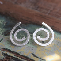 Unique Spiral Stud Earrings - handmade from solid silver