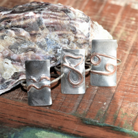 Solid Sterling Silver Zodiac Ring with Copper Design, Genuinely Handmade