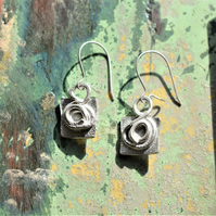 Silver Earrings with a reticulated texture and unusual spiral design