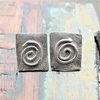 Unique Reticulated Silver Spiral Earrings - genuinely handmade in the UK