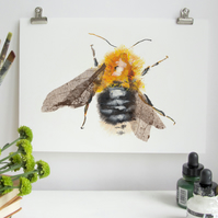 Tree Bumble Bee A4 Wall Print