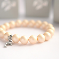 Light Shell Pearl Bracelet with Sterling Silver Dolphin Charm